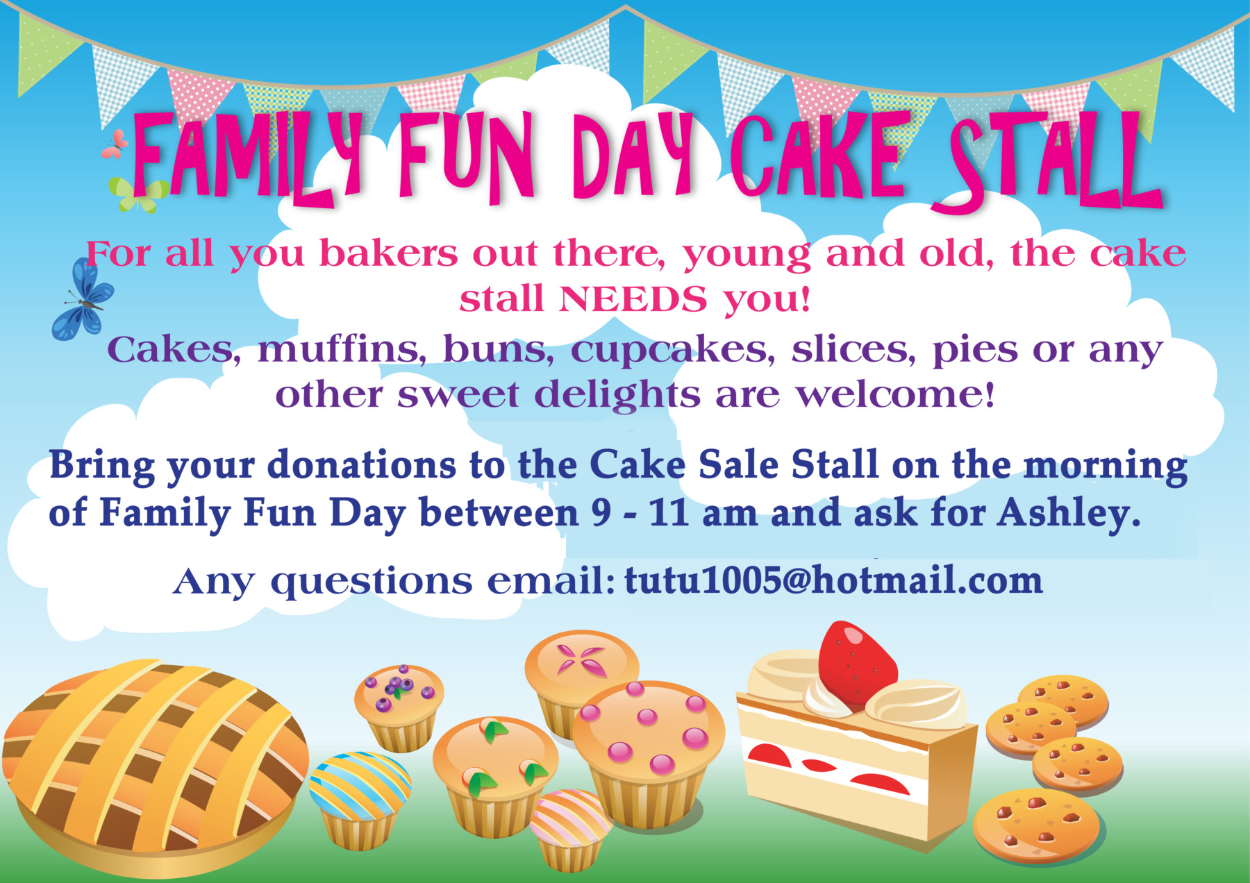 the explorer donations please cake stall poster family fun day 2015